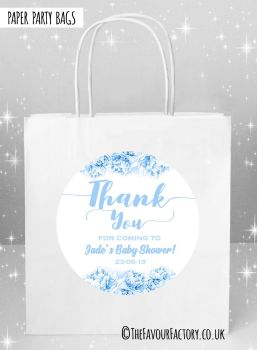 Baby Shower Party Bags Thank You Florals Blues x5
