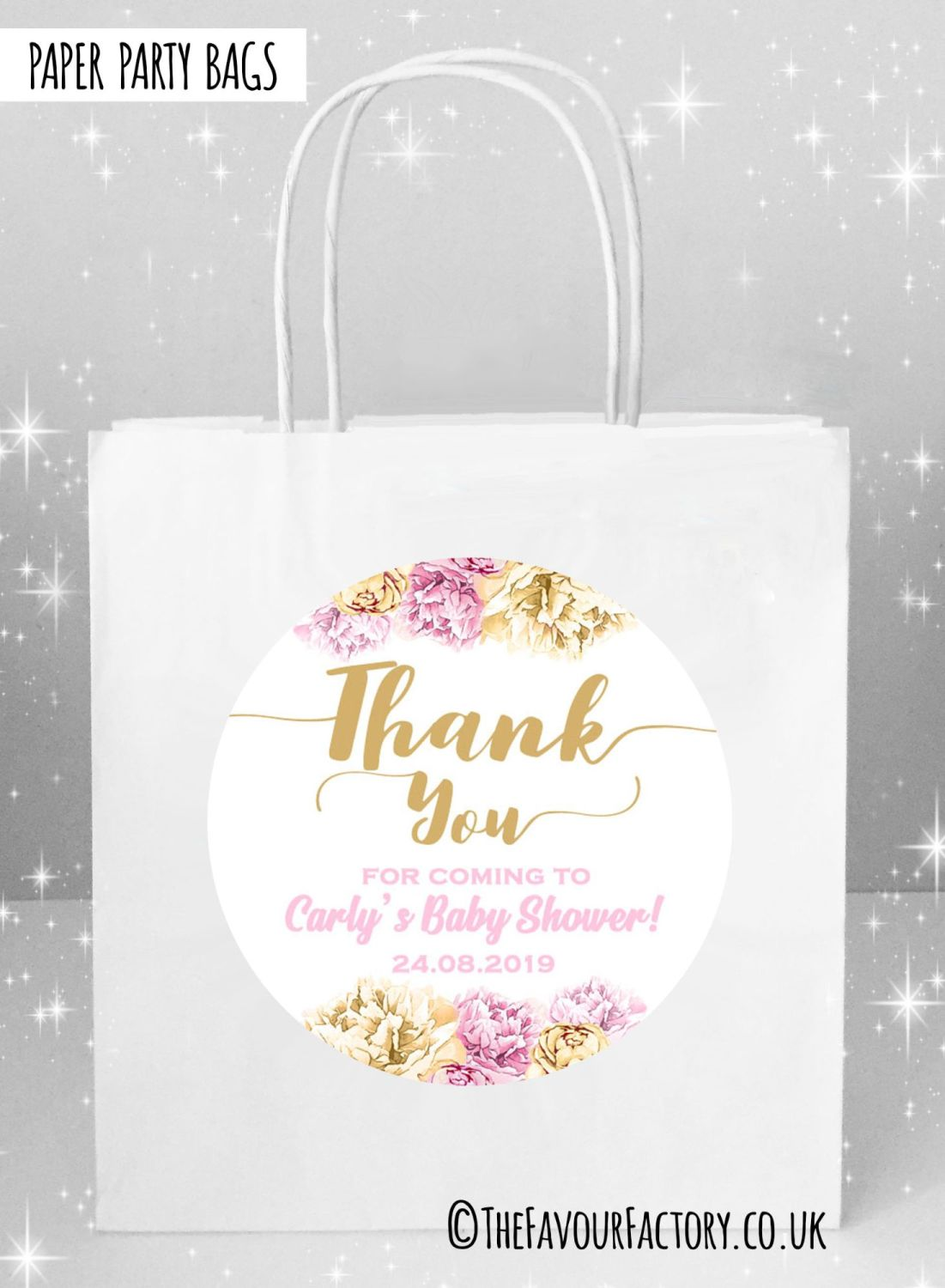 Baby Shower Party Bags Thank You Florals Pink and Gold x5