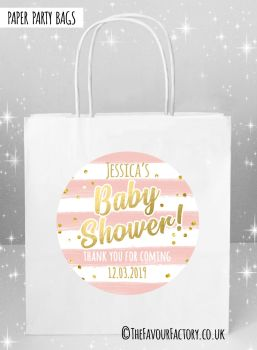 Baby Shower Party Bags Gold Confetti Rose Stripes x5