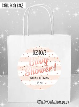 Baby Shower Party Bags Rose Gold Confetti Stripes x5
