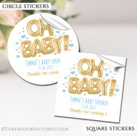 Baby Shower Stickers Personalised 'Oh Baby' Gold & Blue Balloons