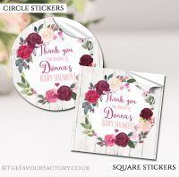 Baby Shower Stickers Personalised Burgundy Blush Floral Wreath