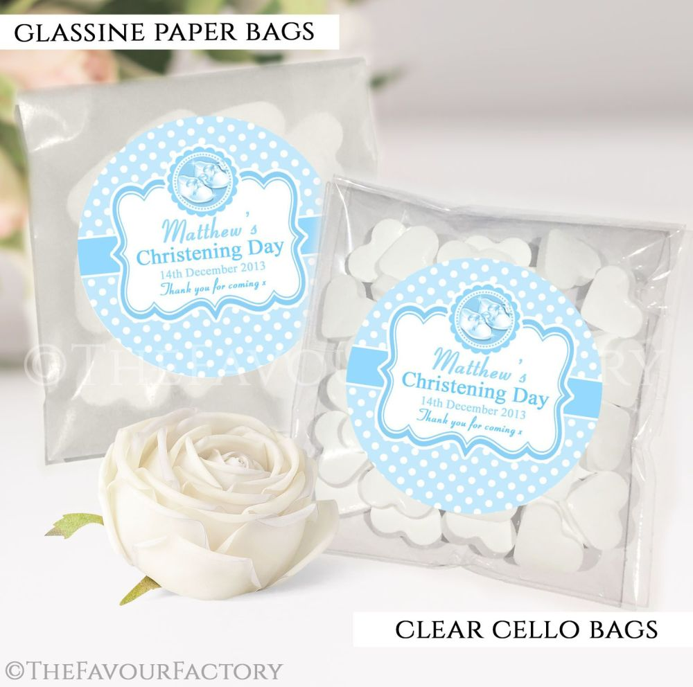 Christening Favours Sweet Bags blue booties x12