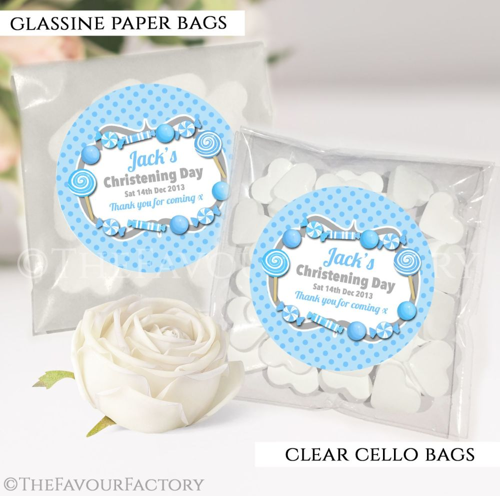 Personalised Christening Favours Sweet Bags Blue Sweets x12