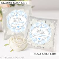 Personalised Christening Favours Sweet Bags Blue Damask Cross x12