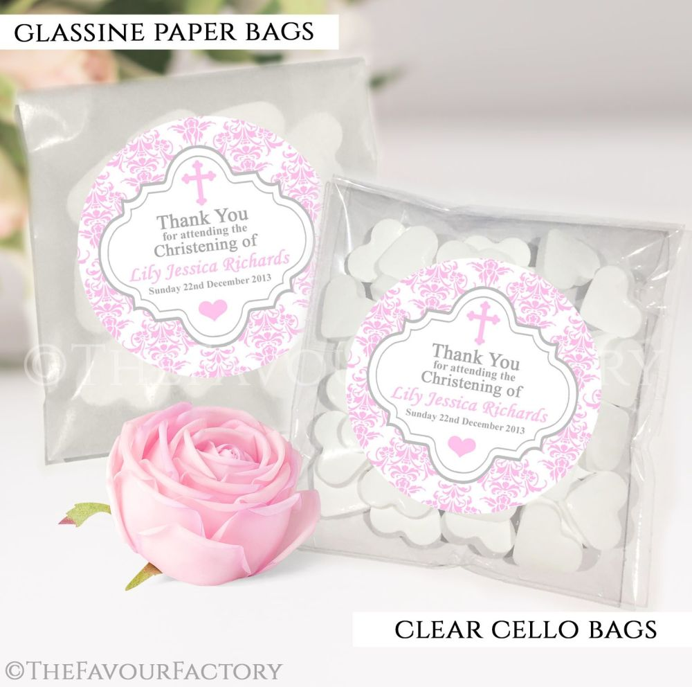 Christening Favours Sweet Bags Damask Cross Pink x12