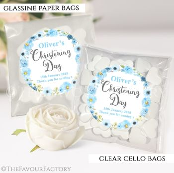 Personalised Christening Favours Sweet Bags Blue Watercolour Flowers x12