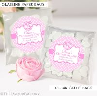Personalised Christening Favours Sweet Bags Pink Booties x12