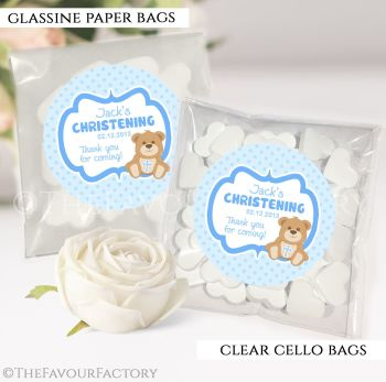 Personalised Christening Favours Sweet Bags Blue Teddy Bear x12