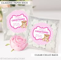 Christening Favours Sweet Bags Teddy Bear Pink x12