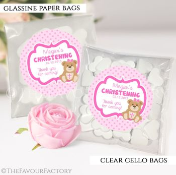 Personalised Christening Favours Sweet Bags Pink Teddy Bear x12