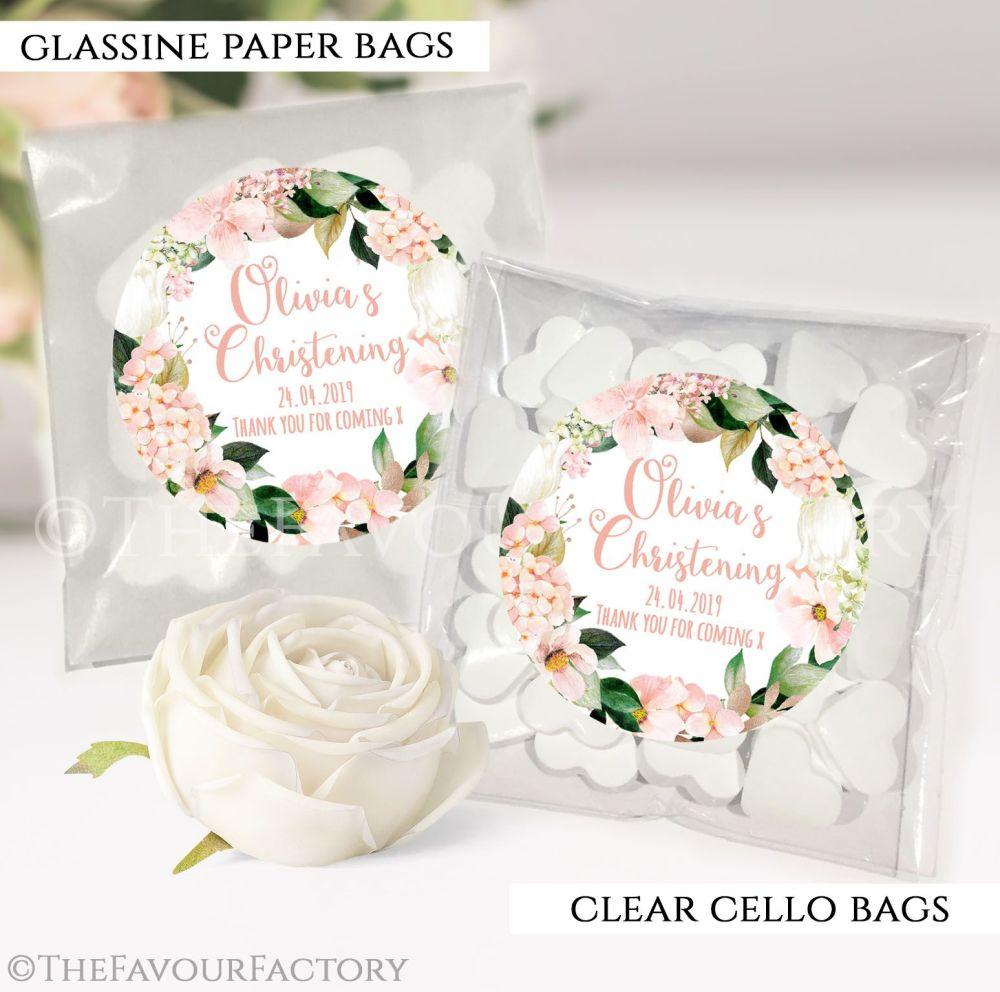 Christening Favours Sweet Bags Blush Hydrangeas x12