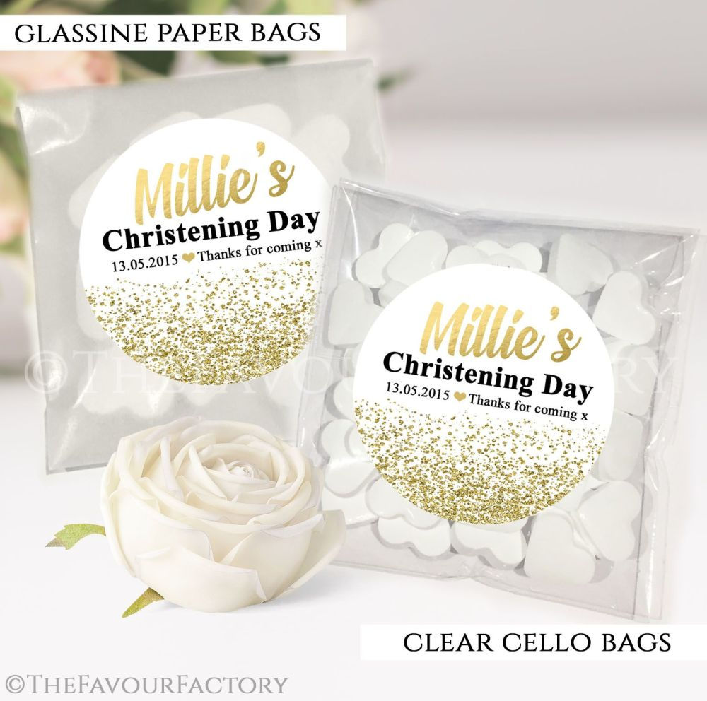 Christening Favours Sweet Bags Gold Glitter Confetti x12