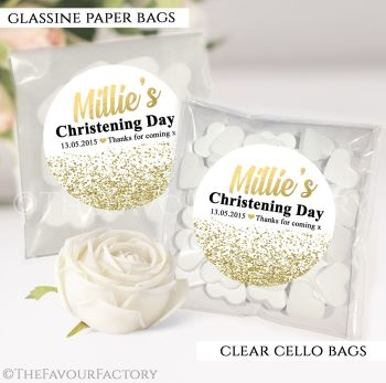 Personalised Christening Favours Sweet Bags Gold Glitter Confetti x12
