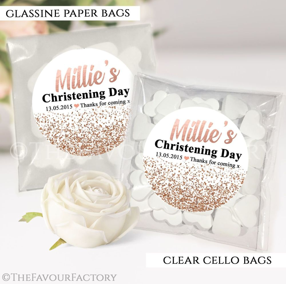 Personalised Christening Favours Sweet Bags Rose Gold Glitter Confetti x12