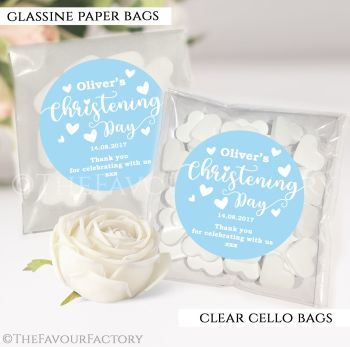 Personalised Christening Favours Sweet Bags Blue Love Hearts x12