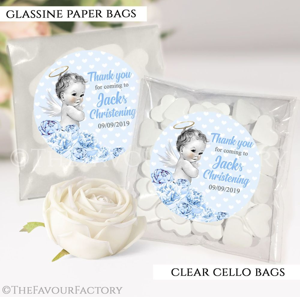 Personalised Christening Favours Sweet Bags Vintage Baby Boy x12
