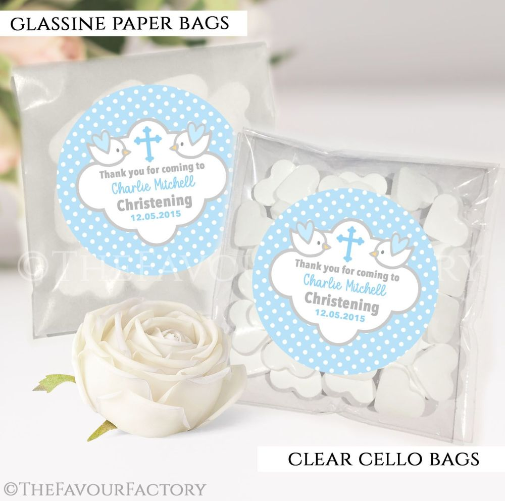 Personalised Christening Favours Sweet Bags Blue Doves x12