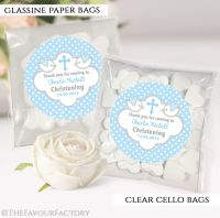 Christening Favours Sweet Bags Doves Blue x12