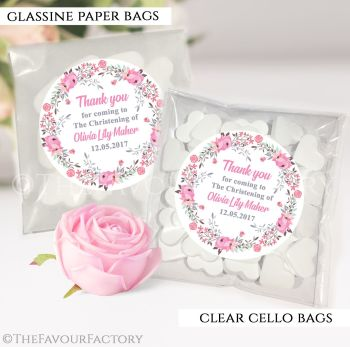Personalised Christening Favours Sweet Bags Pink Floral Wreath x12