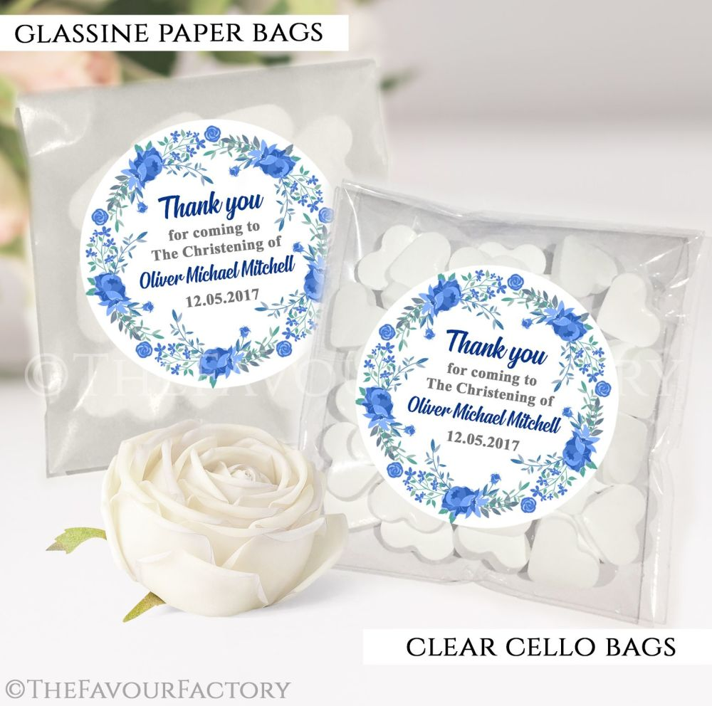 Christening Favours Sweet Bags Floral Wreath Blue x12