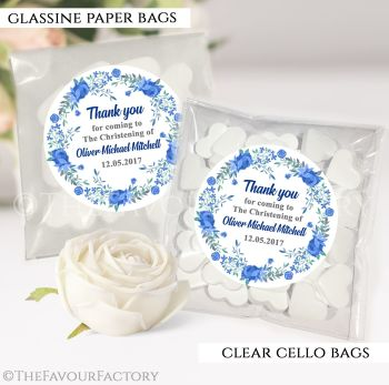 Personalised Christening Favours Sweet Bags Blue Floral Wreath x12
