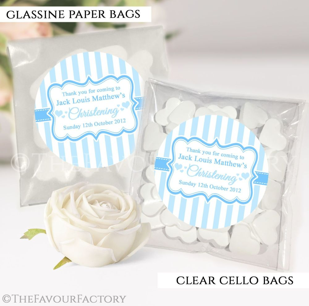 Christening Favours Sweet Bags Stripes Blue x12