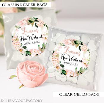 Hen Party Sweet Bags Kits Blush Hydrangeas Florals x12
