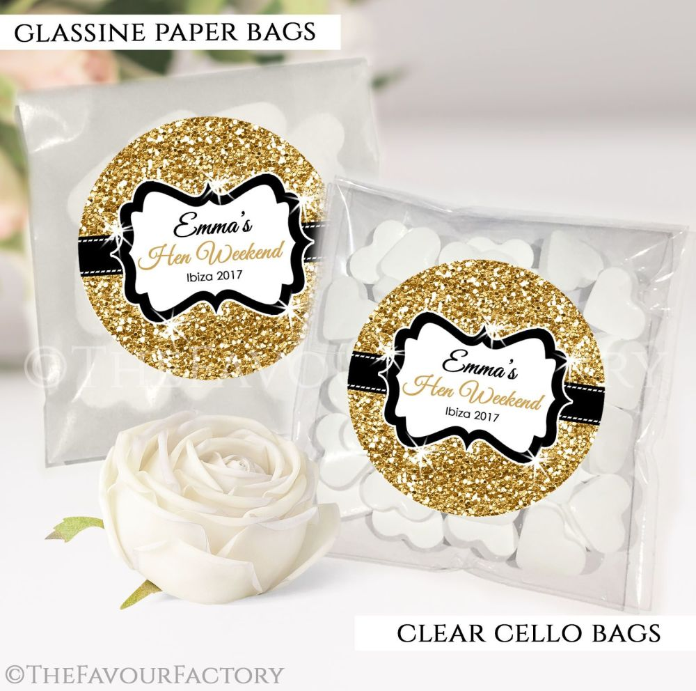 Gold Glitter Hen Party Sweet Bags Kits x12