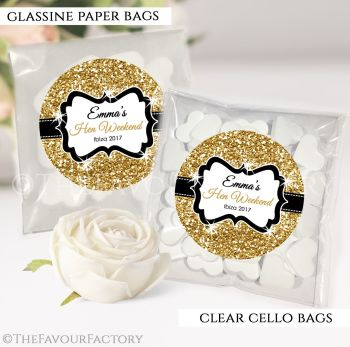 Hen Party Sweet Bags Kits Personalised Gold Glitter x12