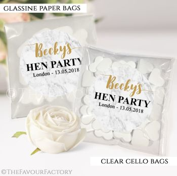 Hen Party Sweet Bags Kits Personalised Marble x12