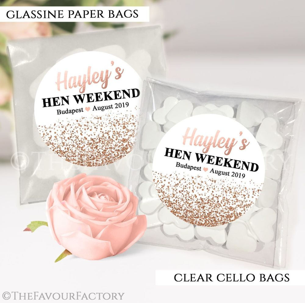 Rose Gold Glitter Hen Party Sweet Bags Kits x12