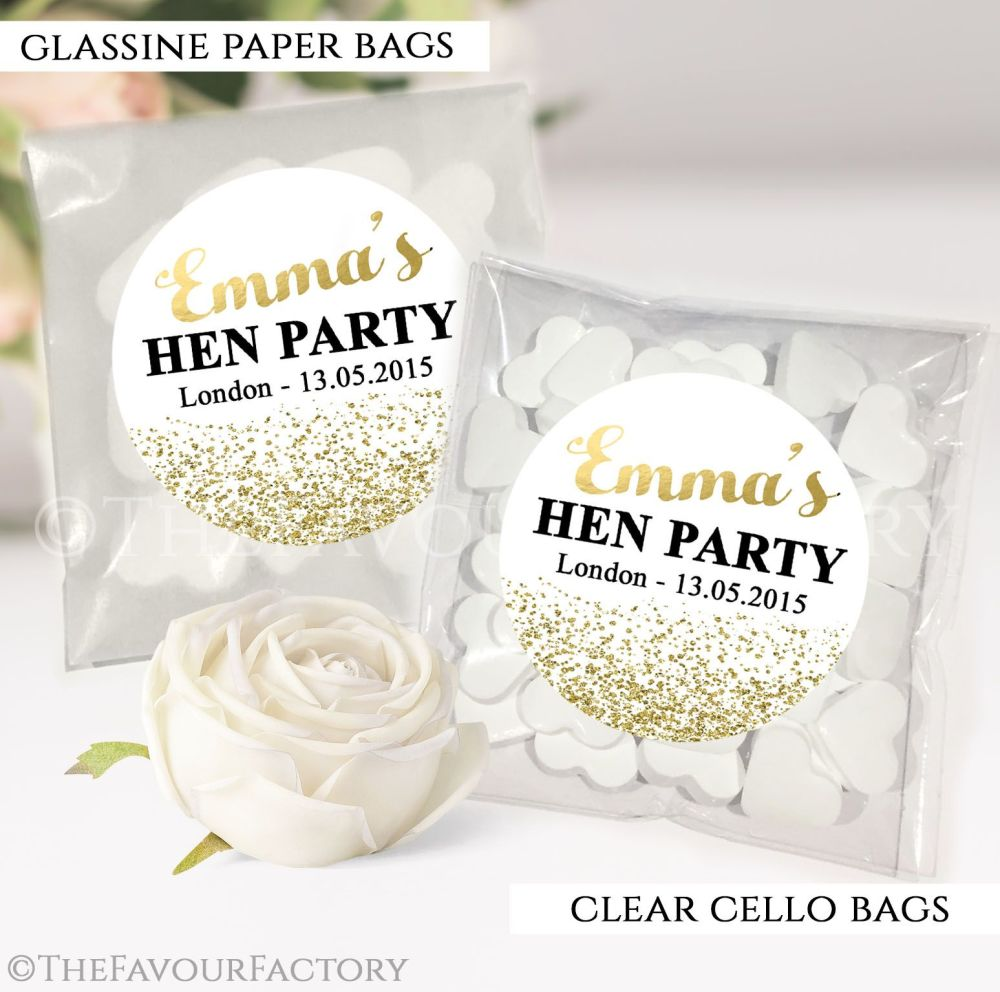 Gold Glitter Confetti Hen Party Sweet Bags Kits x12