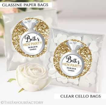 Hen Party Sweet Bags Kits Personalised Gold Glitter Ring x12
