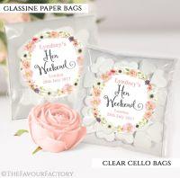 Blush Watercolour Flowers Hen Party Sweet Bags Kits x12