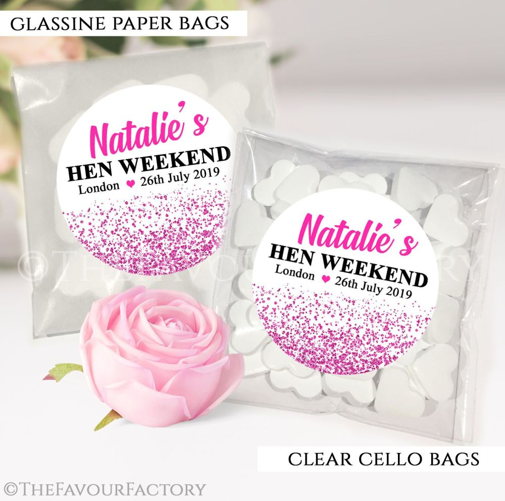 Hot Pink Glitter Confetti Hen Party Sweet Bags Kits x12
