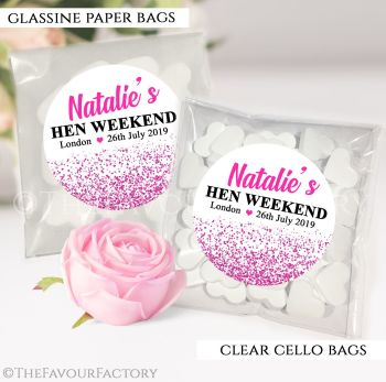 Hen Party Sweet Bags Kits Personalised Hot Pink Glitter Confetti x12