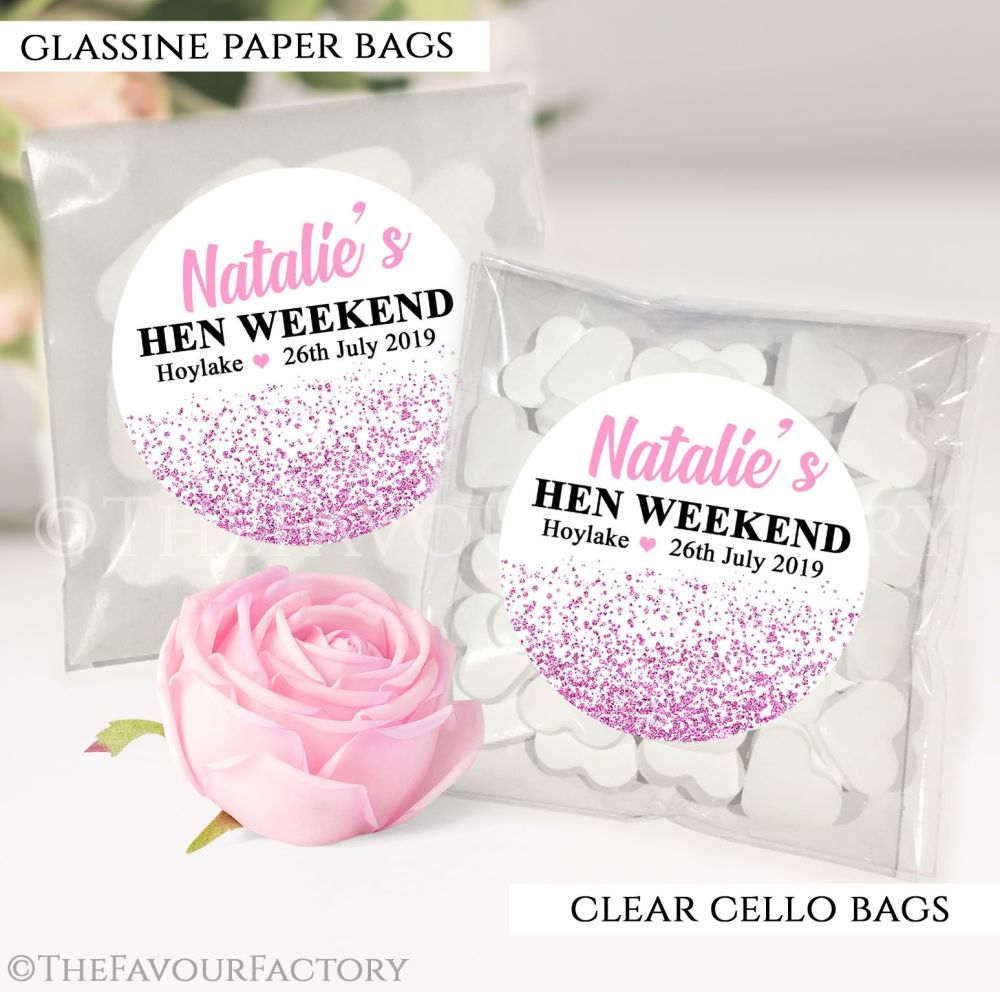 Pink Glitter Confetti Hen Party Sweet Bags Kits x12