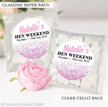 Hen Party Sweet Bags Kits Personalised Pink Glitter Confetti x12