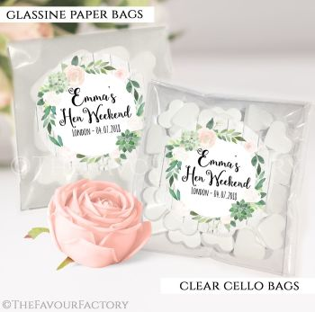 Hen Party Sweet Bags Kits Floral Succulents x12