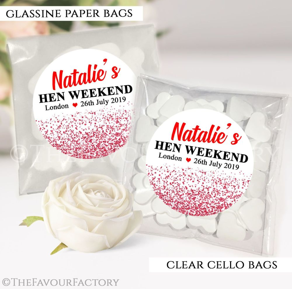 Red Glitter Confetti Hen Party Sweet Bags Kits x12