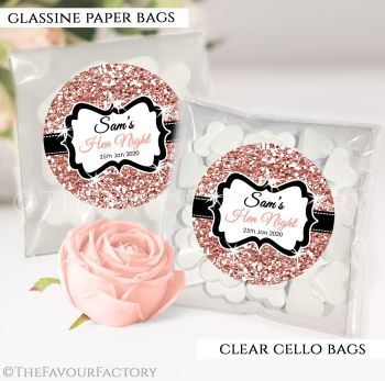 Hen Party Sweet Bags Kits Personalised Rose Gold Glitter x12
