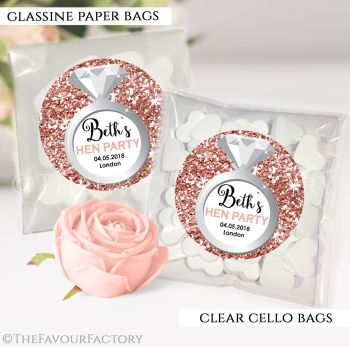 Hen Party Sweet Bags Kits Personalised Rose Gold Glitter Ring x12