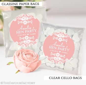 Hen Party Sweet Bags Kits Personalised Floral Lace x12