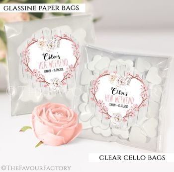 Hen Party Sweet Bags Kits Personalised Boho Floral Heart x12