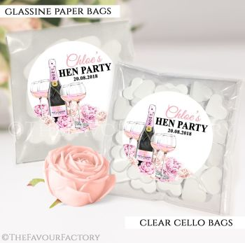 Hen Party Sweet Bags Kits Personalised Champagne and Flowers x12