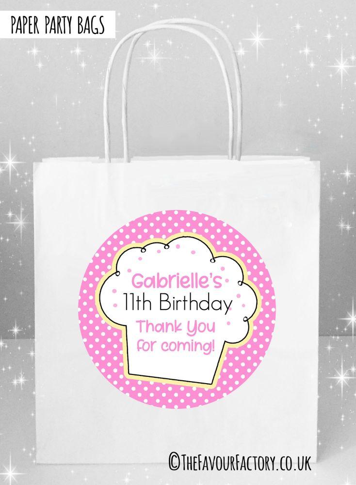 Kids Party Bags Polka Dots Cupcake x1