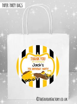 Kids Party Bags Party Diggers Stripes x5