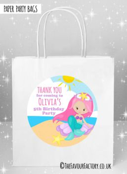 Kids Party Bags Party Mermaid on Beach x5