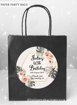 Birthday Party Bags Boho Bohemian Floral Frame x5
